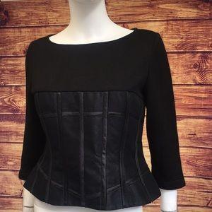 Jason Wu Corset Black Cashmere Silk Back Zip Top